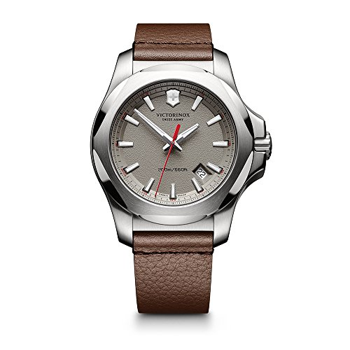 Victorinox Leather Wrist Watch - Victorinox Men's 241738.1 'I.N.O.X.' Swiss Quartz Stainless Steel Brown Leather Watch