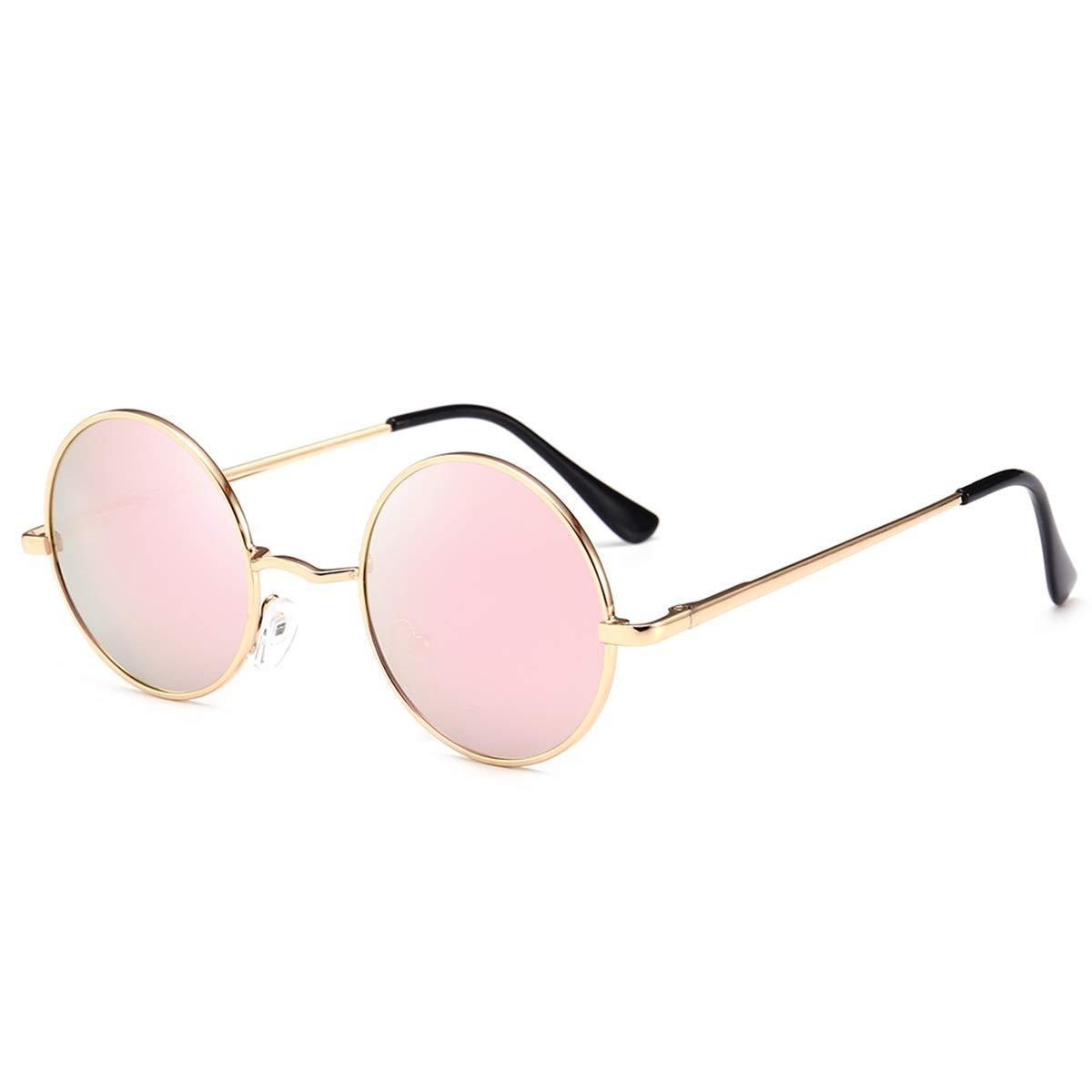 Color : Silver Frame+Black-Grey Lens BZ689 Premium Classic Fashion Polarized Round Sunglasses Men Women Vintage Retro Mirror Coating Sun Glasses
