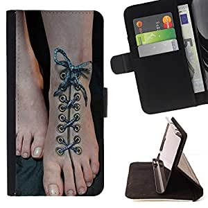 Momo Phone Case / Flip Funda de Cuero Case Cover - Art Shoe Laces Beautiful Feet - Sony Xperia M4 Aqua