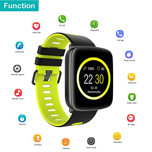 Smart Watch for iPhone & Android Phones,Willful SW018 Smartwatch Fitness Tracker Heart Rate Monitor Watch,Sleep Monitor Pedometer Watch for Men Women Green (IP68 Waterproof,3M Diving) by Willful (Image #1)