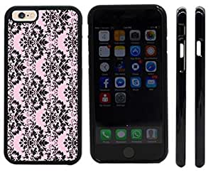 Rikki KnightTM Shabby Chic Black on Pink Damask Design iPhone 6 Case Cover (Black Rubber with front bumper protection) for Apple iPhone 6