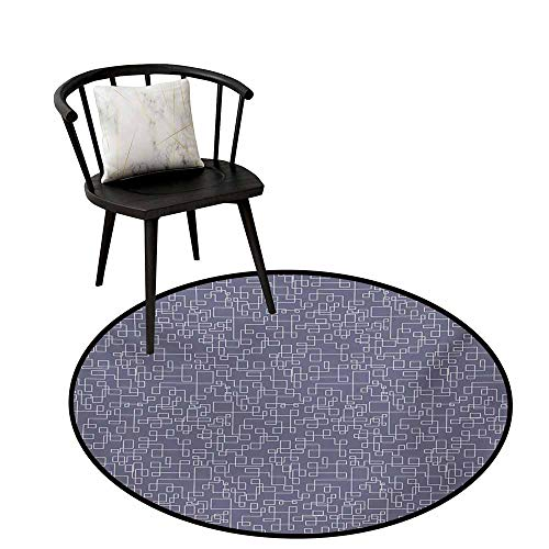 - Round Rug Mat Carpet Geometric,Connected Lines with Rectangle Square Pattern Interweaved Stripes,Purple Grey and Coconut,Office Soft Carpet Floor Mat 16