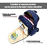 Happycell Baby Diaper Backpack With Insulated Pockets / Multi-functional Travel Diaper Bag with Changing Pad and Stroller Clips (Dark Blue Dot)