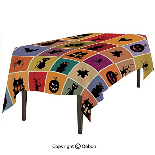 oobon Space Decorations Tablecloth, Bats Cats Owls Haunted Houses in Squraes Halloween Themed Darwing Art Decorative, Rectangular Table Cover for Dining Room Kitchen, W60xL102 inch]()