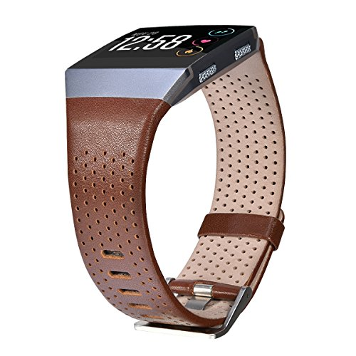 CAGOS Compatible Fitbit Ionic Bands Perforated Leather Accessory Band Strap Replacement Wristband for Fitbit Ionic Women Men (Large, Dark Brown) (Strap Leather Watch Effect)