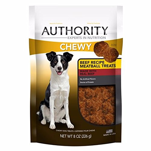 Authority Chewy Beef Meatball Dog Treats Resealable 8 ounces (2 Pack)