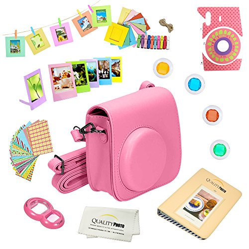 Quality Photo Instant Camera 12-Piece Accessories Bundle -Flamingo Pink- Compatible w/Fujifilm Instax Mini 8 & Mini 9 Camera Includes; Case W/Strap, Lens Filters, Photo Album & Frames + More from Quality photo