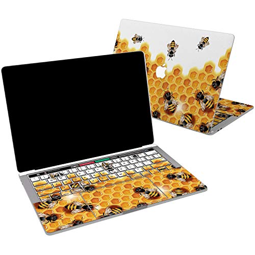 Lex Altern Vinyl Skin for MacBook Air 13 inch Mac Pro 15 Retina 12 11 2019 2018 2017 2016 2015 Yellow Honey Bee Sweet Pattern Hexagon Cute Insect Cover Keyboard Decal Sticker Touch Bar Laptop Women