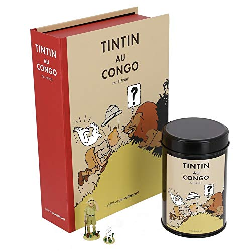 (Moulinsart Colorized Set Tintin in Congo: Figurine, lithographs and Coffee Box (Lion))