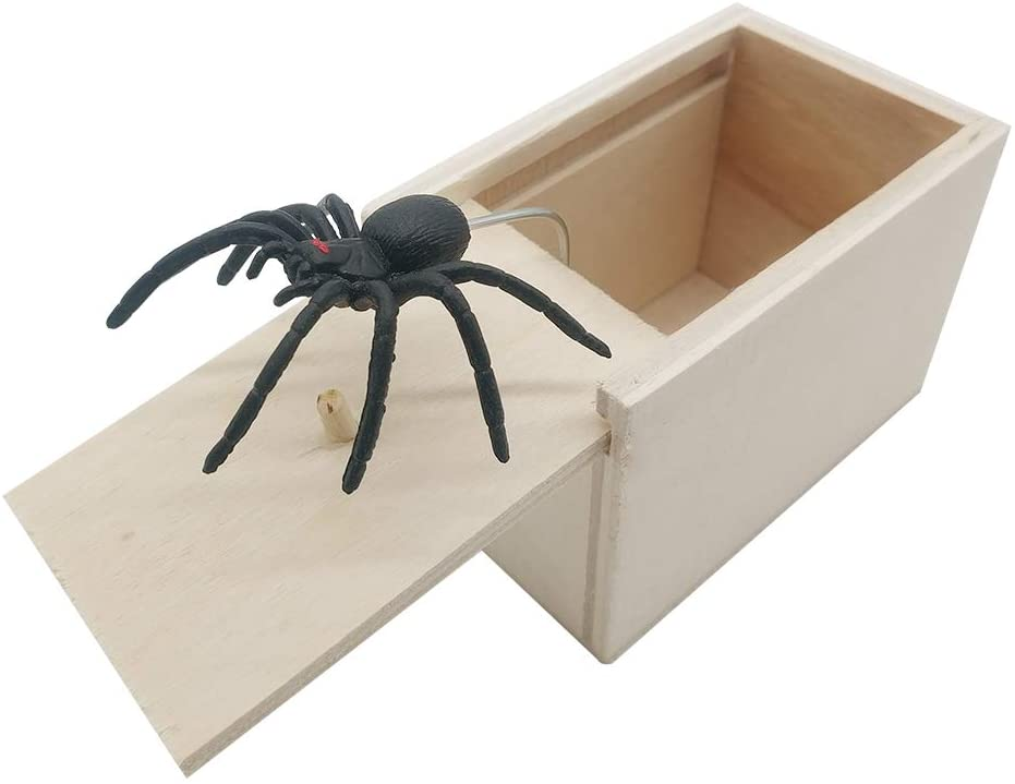 DE Spider Prank Scare Box,Wooden Surprise Box,Handmade Fun Practical Surprise Joke Boxes ,Gags & Practical Joke Toys Halloween