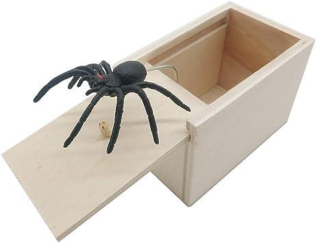 New Hilarious Novelty Scary Box Spider Prank Wooden Scary Box Joke Gag Toy