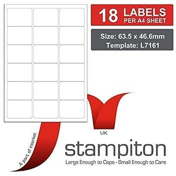 Pk100 A4 18 Per Sheet Multipurpose Print Address Labelsavery L7161