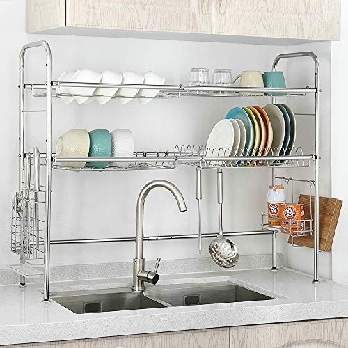 NEX 2-Tier Stainless Steel Drying Dish Rack, Non-slip Height Adjustable Kitchen Cabinets with Chopstick Holder, Double - Of Cabinets Kitchen Height