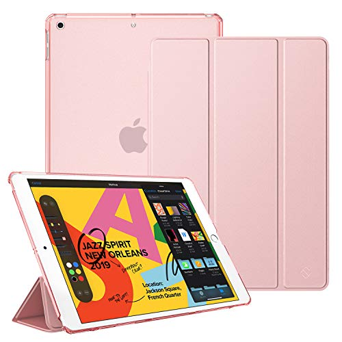 "Fintie Case for New iPad 7th Gen 10.2 Inch 2019 - Lightweight Slim Shell Stand with Translucent Frosted Back Cover Supports Auto Wake/Sleep for iPad 10.2"" 2019 Tablet, Rose Gold"