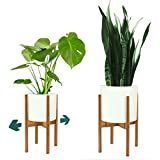 """FOX & FERN Mid-Century Modern Plant Stand - Adjustable Width 8"""" up to 12"""" - Bamboo - EXCLUDING White Ceramic Planter Pot"""