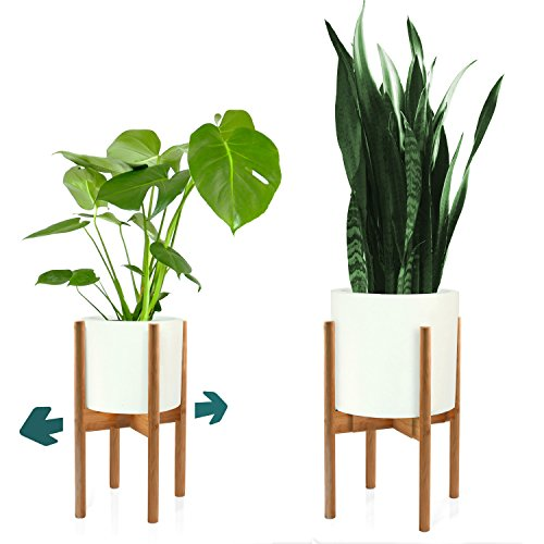 "FOX & FERN Mid-Century Modern Plant Stand - Adjustable Width 8"" up to 12"" - Bamboo - EXCLUDING White Ceramic Planter Pot"