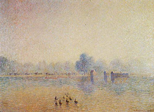 $50-$2000 Hand Painted Art Paintings by College Teachers - The Serpentine Hyde Park Fog Effect 1890 Camille Pissarro Famous Oil Painting on Canvas for Wall Art Decor -Size 04