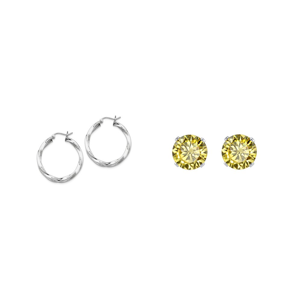 Sterling Silver 3.00mm Twisted Hoop Earrings and a pair of Yellow 4mm CZ Stud Earrings