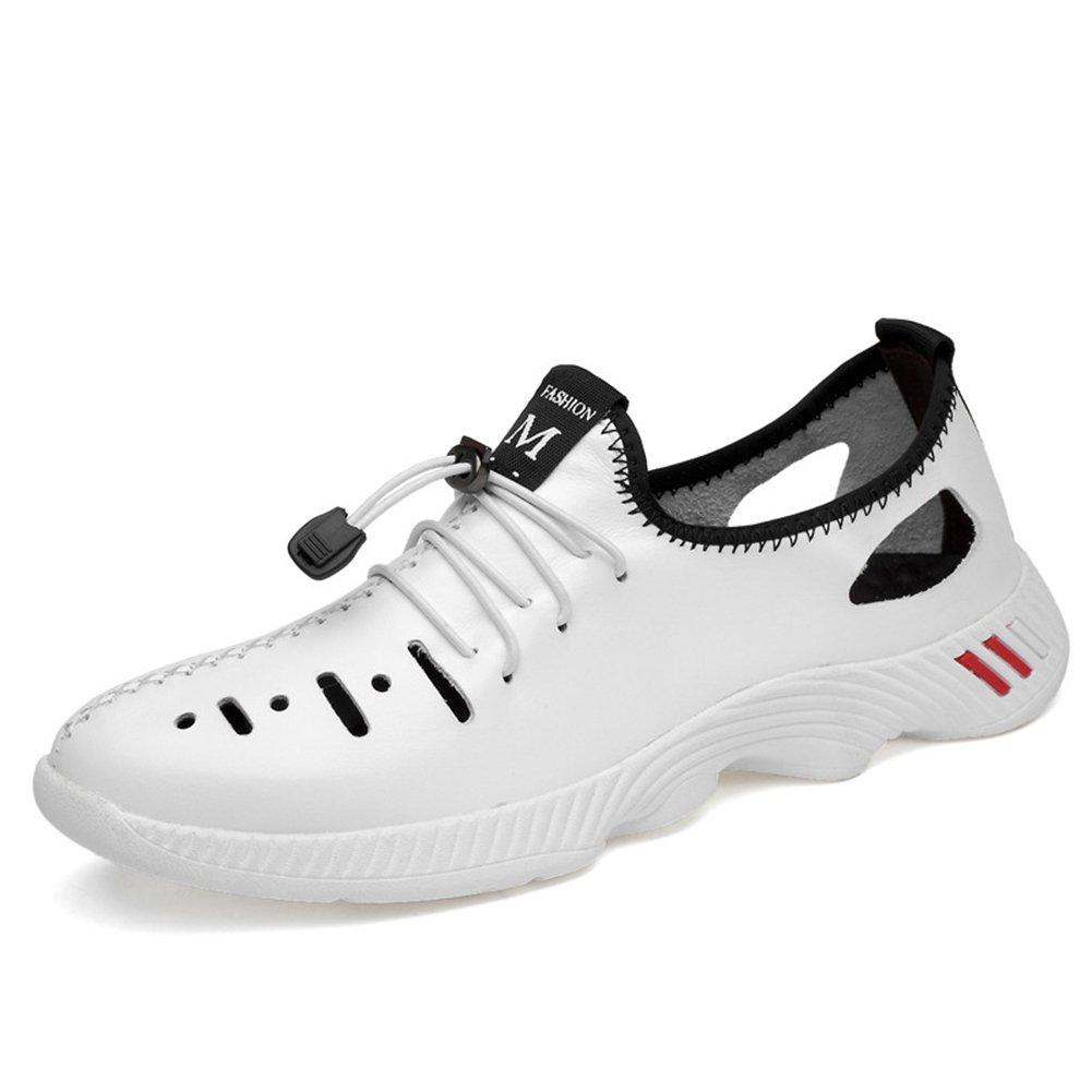 New Zapatos Casuales de los Hombres 2018 Zapatos de Marea para Hombre de Verano/Otoño Zapatos de Cuero Genuino Agujero Zapatos de Ocio Hueco de Gran Tamaño 35-47 EU Size 41 EU|Blanco