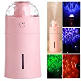 TechCode Humidifier LED Night Lamp, USB Projection Lamp with 175ml Capacity Humidifier Mini Air Purifier Ultrasonic LED Night Light Humidifier for Car Bedroom Decoration (Pink)