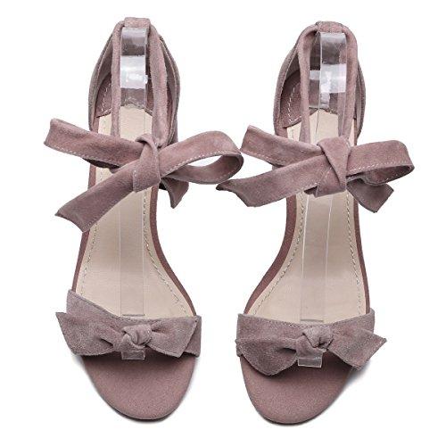 Zapatos Colegio Nuevo Mujer Lazo Sandalias De Rosado Salvaje Xiaoqi Viento Grueso Verano Con pwqFgaOxUw