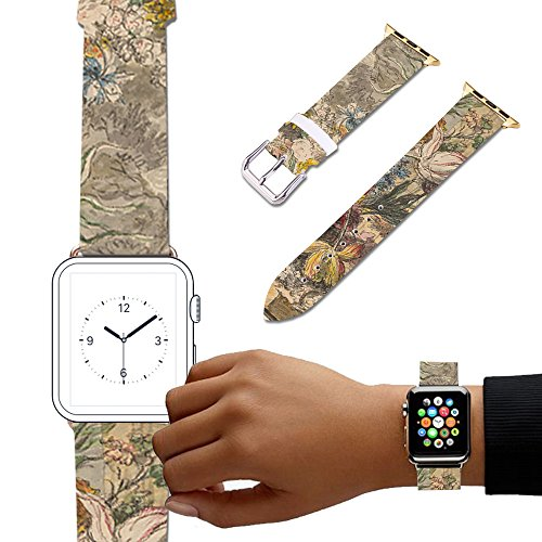 For Apple Watch, Natural color Floral Printed Leather Watch Band 38mm 42mm Strap for Apple Watch 3, 2, 1 Flower Design Wrist Watch iwatch Bracelet-113. Flowers in an Urn ()