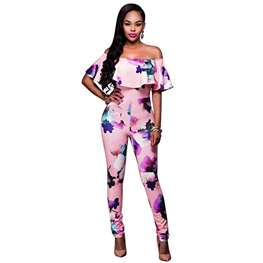 1ac9a4f46 Image Unavailable. Image not available for. Color: TIMEMEANS Jumpsuit  Womens Bodysuit Off The Shoulder Ruffle Top Off Shoulder Pink