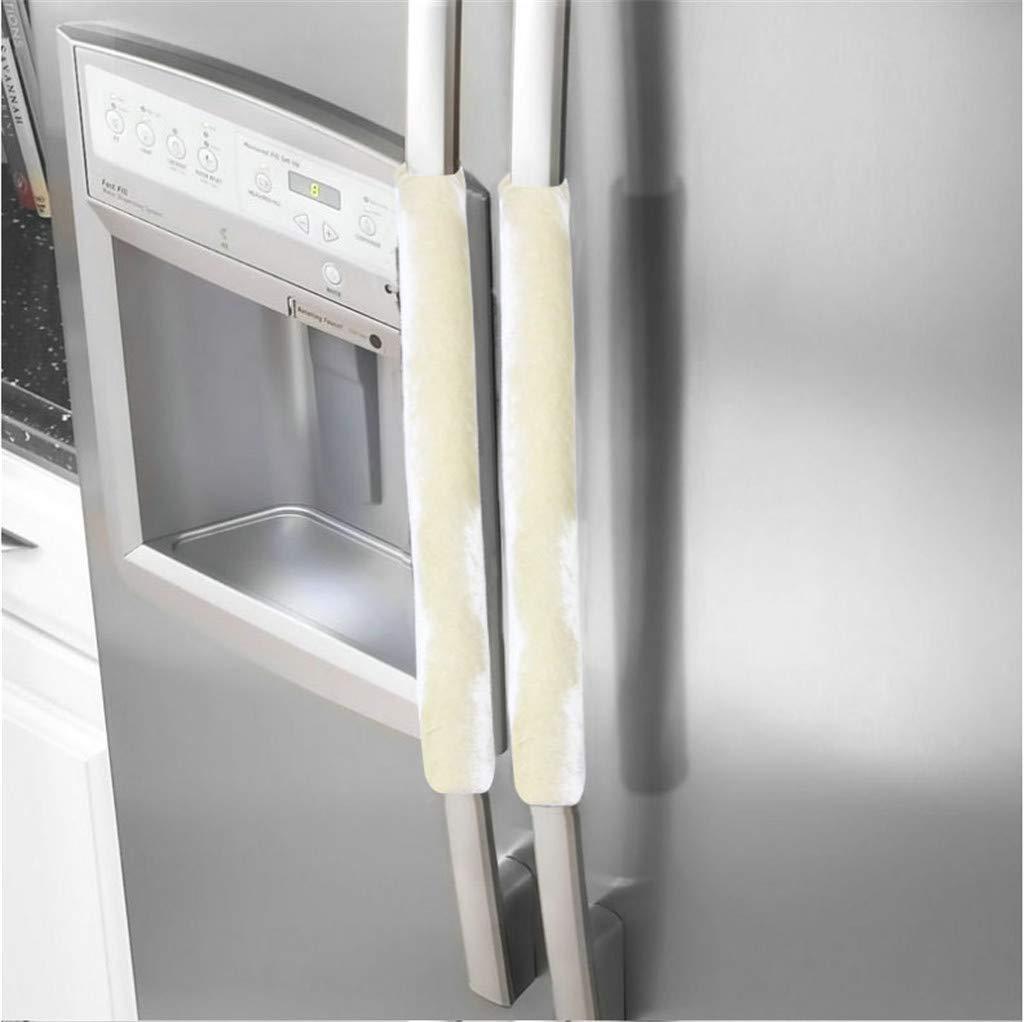 Quaanti Refrigerator Door Handle Cover Kitchen Appliance Decor Handles Antiskid Protector Gloves for Fridge Oven Keep Off Fingerprints,Liquid,Oil Stain,Food Spot,2 Pieces (Beige)