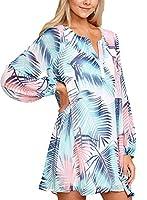 Asvivid Womens Boho Floral Print Long Sleeve Beach Cover Ups Summer Mini Dress