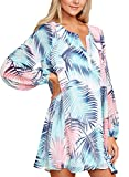 Asvivid Womens Bohemian V Neck Floral Print Long Sleeve Beach Cover Ups Chifon Mini Dress L Floral1