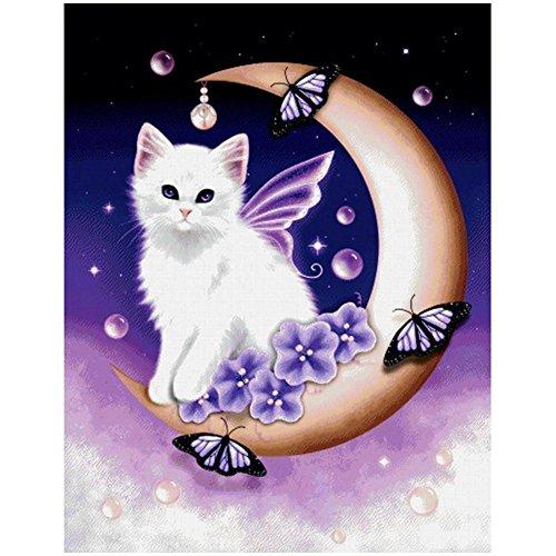 5D DIY Diamond Painting Kit,Full Diamond Cross Stitch Craft kit Embroidery Rhinestone Cross Stitch Arts Craft (Sky Cat)
