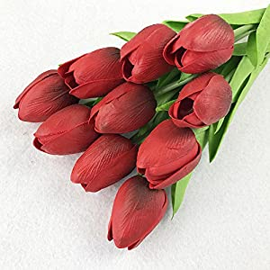 10PCS Fake Artificial Silk Tulips Flores Artificiales Bouquets Party Artificial Flowers for Home Wedding Decoration - 10 x Artific- Ornamental vases & Artificial Flowers Artificial Flowers - 6