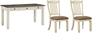 Signature Design by Ashley Bolanburg Home Office Desk Two-Tone & Upholstered Dining Room Bench, Antique White
