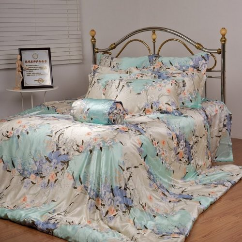 Orifashion Luxury 9 Piece Bedding Set Printed Floral Patterns Size: Full