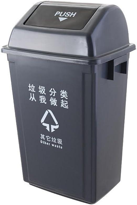 Alf Papelera de Exterior Cubo de Basura al Aire Libre, Basura clasificada de plástico Puede Basura reciclable Contenedores de Basura de jardín (Color : Black, Size : 25L): Amazon.es: Hogar