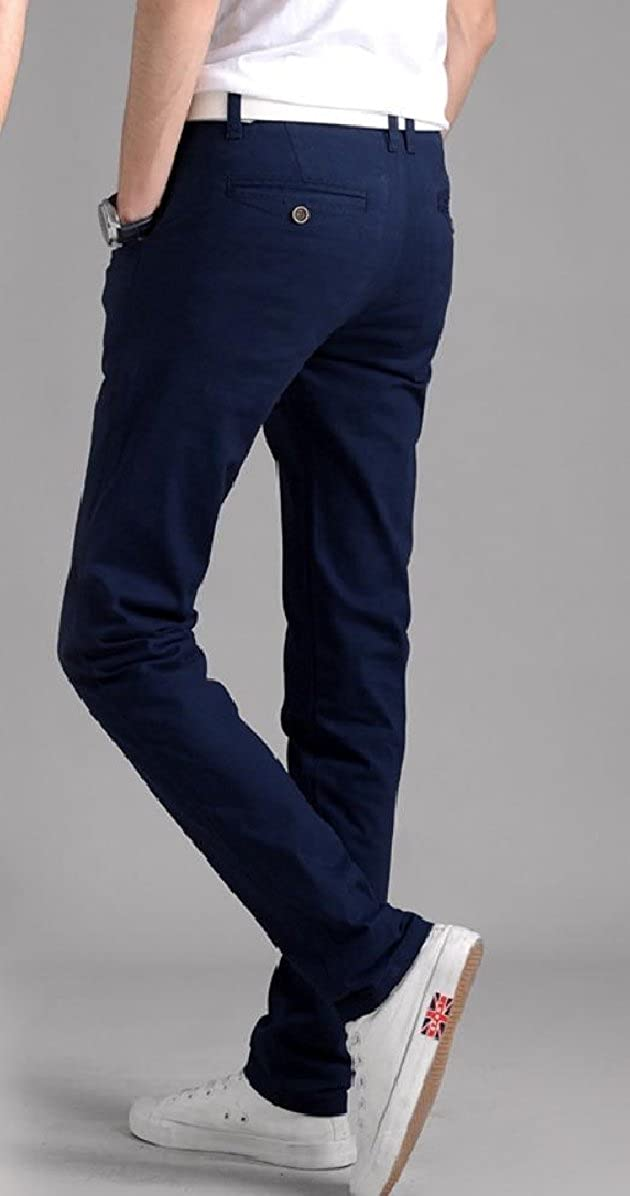 YUNY Men Slim Fitted Cotton Straight No-Iron Solid-Colored Chino Pants Sapphire Blue 37