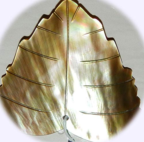 New Brown Lip Shell 46mm Carved Leaf Natural Pendant Focal Jewelry-Making Bead DIY Craft Supplies for Handmade Bracelet Necklace
