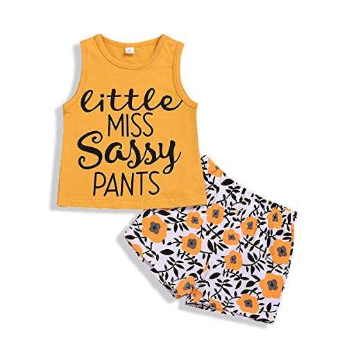 (Baby Girls Shorts Set Little Sister Letter Print Ruffle Short Sleeve Shirt+Big Sister Floral Pants Twins Outfits (Yellow, 4-5 Years))