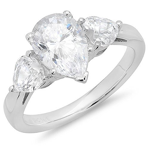 Dazzlingrock Collection 3.00 Carat (ctw) 14K Pear Shaped Cubic Zirconia 3 Stone Ladies Engagement Ring, White Gold, Size 7