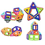 Camande Magnetic Building Block Set, 76 Pieces Set Magnet Kids Construction Stacking Toy Rainbow Color for Creavity Educational, with Instraction Booklet and Storage Bag, MINI Size Good for Travel