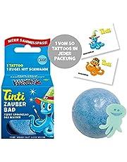 Tinti Magiczna kąpiel niebieska - musująca kula do kąpieli z niespodzianką, 1 opakowanie (1 x 40 g)