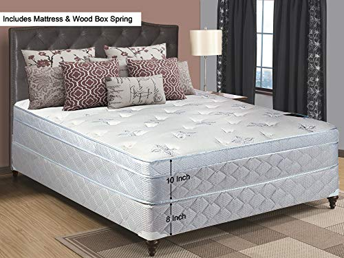 Greaton 448v-4/6XL-2 Plush Innerspring Eurotop Mattress and Box Spring/Foundation Set, No Assembly Required, Full XL, Size