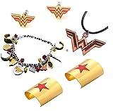 4 Pack Wonder Women Cosplay Cuffs - Necklace - Earrings Earbuds - Charms Bracelet Halloween Costume