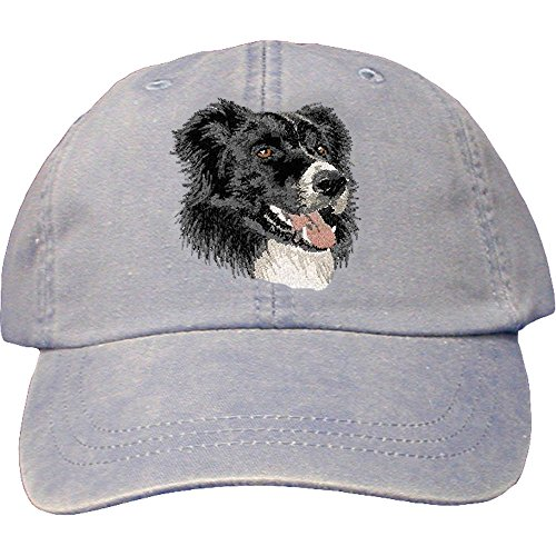 Cherrybrook Dog Breed Embroidered Adams Cotton Twill Caps - Periwinkle - Border Collie
