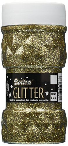 Darice 8-Ounce Glitter Jar, Gold
