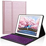 Dingrich Keyboard Case for 9.7 iPad 2018 2017 - iPad Pro 9.7 - iPad Air 2 1 - Smart Protection iPad 9.7 Keyboard Case with 7 Color Backlit (Rose Gold)