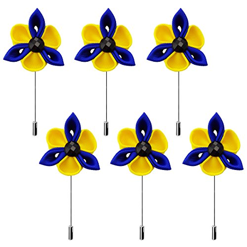 RareLove 6 PCS Mens Flower Lapel Pin Webbing Boutonniere Set For Suit Party Wedding Yellow Blue by RareLove