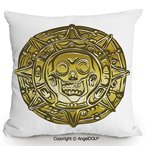 AngelDOU Pillow Cotton Linen Cushion,Gold Money Pirate Coin Medallion Scary Skull Figure Ancient Antique Currency Print Decorative,Coffee Shop Restaurant Sofa Company 19.6x19.6 inches ()