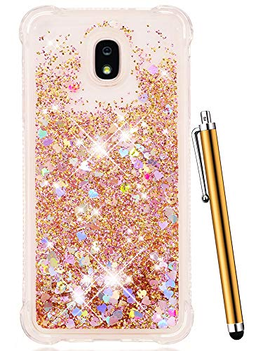 - CAIYUNL Glitter Case Liquid Sparkle Bling Floating Flowing Clear TPU Protective Women Men Luxury Phone Case for Galaxy J3 Achieve / J3 2018 / J3 Star/Express Prime 3 / J3 Orbit/Amp Prime 3 -Gold