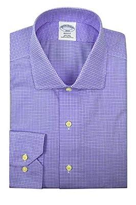 Brooks Brothers Men's Regent Fit Mini Plaid Non Iron Dress Shirt Purple
